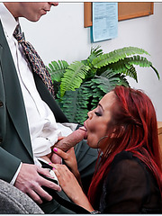 Horny redhead whore Mia Lelani enjoying a good dick in her mouth
