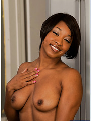 Seductive black whore Imani Rose showing her sweet boobs and wet pussy