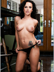 First-class brunette Katie St. Ives undressing and showing her sweet tattoo