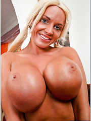 Cuddly wife Jordan Pryce demonstrates her boobies and works with pussy