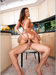 Gorgeous slut Rachel Starr is being nailed hard in the kitchen by her man