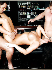 Busty whore Maya Divine is being nailed hard by two dudes in all her holes