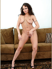 Arresting bitch Isabella Manelli taking her blue dress off and showing tits