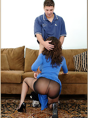 Magnificent babe Isabella Manelli in her blue clothes is being pleased well