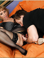 Mature slut Sophia Mounds doing a fantastic cock sucking action over here