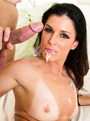 Sparkling babe India Summer is being banged and eats a full load of cum