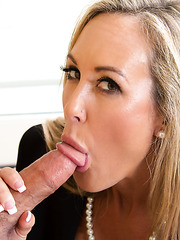 Mature babe Brandi Love likes to have a good white cock for her dinner