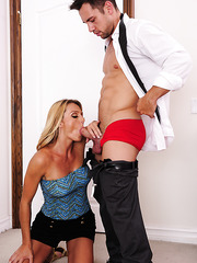 Famous whore Brenda James is showing how a real blowjob should be done