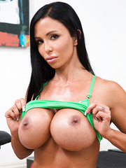 Naughty pornstar Jewels Jade felling naughty and showing her huge boobs