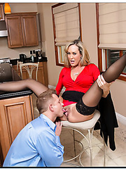 Entrancing blonde Brandi Love prefers to be nailed at the kitchen