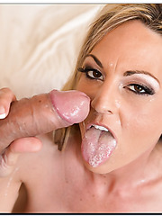 Charming babe Sindy Lange doing naughty things to get a facial cumshot