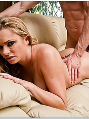Pretty whore Briana Banks getting drilled and creampied on camera