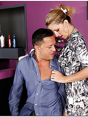 Dazzling pornstar Roxanne Hall adores fucking with handsome fellows