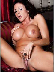 Charming varmint Ariella Ferrera playing with her boobies and hairy snatch