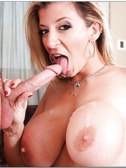 Lovely whore Sara Jay making a nice deepthroat and riding a big cock