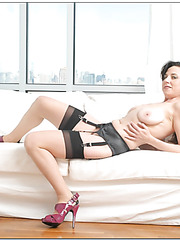 Superb milf Karen Kougar stripping all day long and playing with her snatch