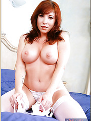 Stunning slut Brittany O'Connell spreading trimmed pussy and fingering