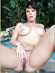 Nice whore Kayla Synz showing delicious tits outdoors and masturbating