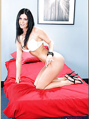 Goodly pornstar India Summer posing in awesome lingerie and fingering