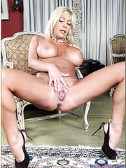 Passionate stripper Misty Vonage enjoys posing and rubbing boobies