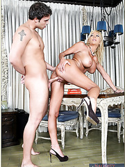 Gentle milf Misty Vonage making a titjob and getting drilled in ass