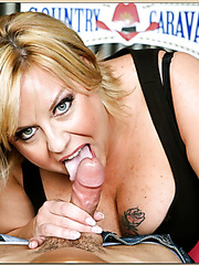 Superb mom Mishka making a first-class blowjob for her lovely friend
