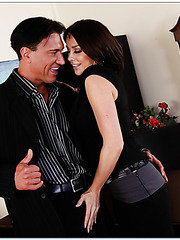 Chanel Preston masturbates with her fingers and gives a passionate blowjob