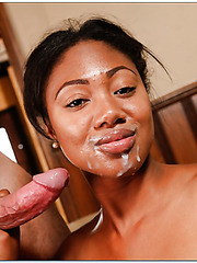 Sweet ebony babe Evanni Solei gets a sweet sperm on the juicy lips