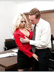 Pretty blonde Jazy Berlin plays with her sexy pussy in the office