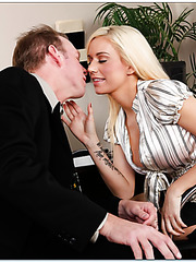 Sweet blonde Mariah Madysinn enjoys with a dick in her sexy mouth