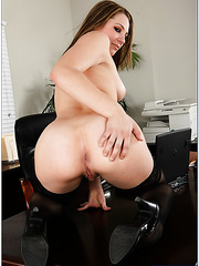 Nasty business woman Bailey Blue undresses for a crazy action