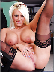 Passionate blonde Jacky Joy rides a cock and gets a sweet sperm