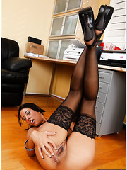 Awesome fuck with a pretty brunette chick Lyla Storm in the office