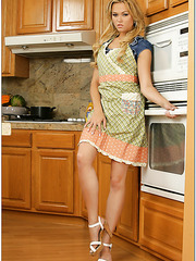Blonde housewife with model-quality legs Angelina Armani fucked at the kitchen