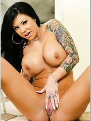 Awesome brunette with amazing tattoos and huge tits Mason Moore fucked in the ass