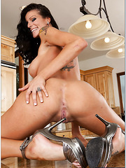 Awesome brunette milf with big tits Sea J Raw fucked at the wooden kitchen