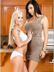 Naughty lesbian milfs Jelena Jensen and Sammie Rhodes have sweet time at the kitchen