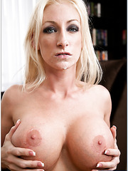 Fascinating blonde milf with big boobs Nadia Hilton fucked in her cabinet