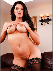 Nice brunette Leena Sky stripping in lingerie and spreading shaved snatch