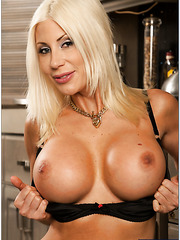 Crazy whore Puma Swede posing in black panties and showing big tits