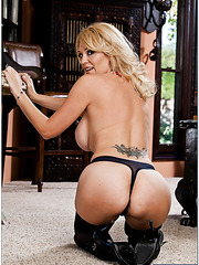 Big-boobed baby Charlee Chase showing delicious big tits and getting satisfied