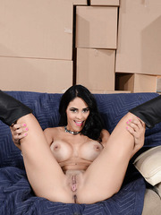 Black haired busty and playful babe Jasmine Caro spreads her pussy lips