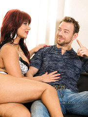 Big assed and horny redhead Rose Monroe wakes up him with a wild action