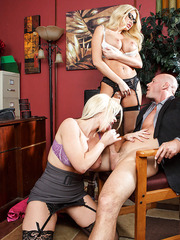 Office bombshells in hot glasses Alena Croft and Summer Brielle got one dick