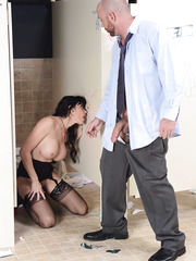 Fantastic brunette office milf with big breast Eva Karera got her glory hole