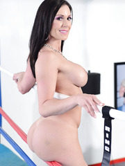 Passionate brunette Kendra Lust spreading vagina and licking fingers