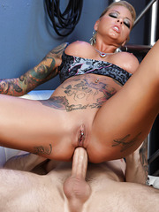 Tattooed babe Britney Shannon loves fucking hard with her handsome boyfriend