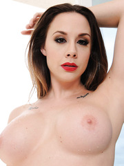 Alluring milf Chanel Preston getting naked and rubbing pussy on camera