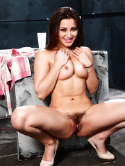 Shameless Dani Daniels prefers showing hairy pussy and spreading legs