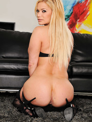 Naive bitch Shyla Stylez posing in an awesome dress and riding a black rod
